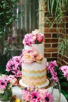 Layer cake with Chevron design