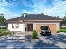 DOM.PL™ - Projekt domu ARP FABIAN CE - DOM AP2-32 - gotowy koszt budowy Beautiful House Plans, Beautiful Homes, Home Building Design, Building A House, 20 M2, Grenada, Asana, Places To Visit, Garage Doors