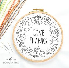 Give thanks, autumn wreath, sampler. Digital hand embroidery pattern , PDF instant Download by inkandocean on Etsy https://www.etsy.com/listing/480096161/give-thanks-autumn-wreath-sampler