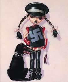 nazis are sexy - li'l miss sticky kiss - apr 2002 - 45 x 53cm - oil by Trevor Brown