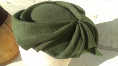 Army Green Flat Fur Felt Sculpted Cocktail Hat by CorinaHaywood, $140.00