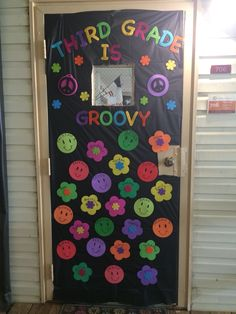 Door decoration/bulletin board idea. Third grade is groovy!  70s theme