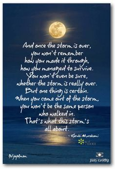 And once the storm is over, you won't remember how you made it through, how you managed to survive. You won't even be sure whether the storm is really over. But one thing is for certain. When you come out of the storm, you won't be the same person who walked in. That's what this storm's all about. <3 Join us for more inspiration on Joy of Mom! <3 https://www.facebook.com/joyofmom #inspirational #quote #survival #storm #joyofmom