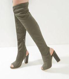 Khaki Peep Toe Over The Knee Block Heel Boots
