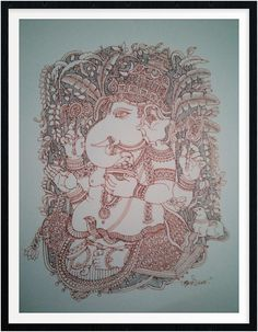 Madhubani Art, Madhubani Painting, Ganesha Art, Lord Ganesha, Easy Drawings For Kids, Drawing For Kids, Indian Arts And Crafts, God Pictures, Indian Paintings
