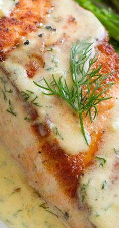 Salmon (with Creamy Garlic Dijon Sauce) - Cooking Classy Sauce For Grilled Salmon, Salmon Marinade, Pan Fried Salmon, Grilled Salmon Recipes, Pan Seared Salmon, Fish Recipes, Seafood Recipes, Cooking Recipes, Salmon Sauce