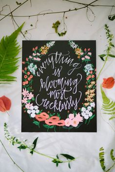 Everything Blooming - 8 x 10 - Calligraphy Floral Wreath Art Print / shannon kirsten