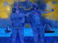 bathers in cancun Rufino Tamayo oil on canvas