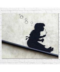 Girl Blowing Bubbles large canvas print Sale - Banksy Sale
