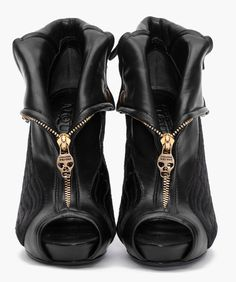 Stunning peep-toe booties - I love the zipper and the foldover top. These are fantastic! xx