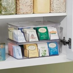 Use our Linus Tea Storage Box to sort and store teabags, sweetener packets, non-dairy creamers and other small items. With eight deep compartments, this clear tea organizer keeps contents upright and… Kitchen Organization Pantry, Diy Kitchen Storage, Pantry Storage, Kitchen Pantry, Organizing Ideas, Organization Hacks, Organized Pantry, Kitchen Ideas, Rv Storage