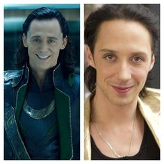 Separated at birth? Loki and Johnny Weir.
