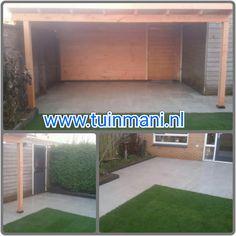 Veranda - terrasoverkapping, gemaakt van lariks met een plat dak dat EPDM folie heeft. Ook verkrijgbaar in aluminium en geïmpregneerd hout. De bestrating is ook aangelegd door Tuinmani. De sierbestrating is keramisch. En er liggen echte graszoden in. Dit alles is geplaatst en verkrijgbaar bij @Tuinmani #tuinmani www.tuinmani.nl