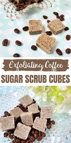 This easy sugar scrub cubes recipe easy diy will teach you how to make your own sugar scrub cubes for exfoliating and at home pedicure. These solid sugar scrub cubes are made with real coffee and smell amazing! pedicure at home easy Body Scrub Recipe, Diy Body Scrub, Sugar Scrub Recipe, Diy Scrub, Sugar Scrub Homemade, Homemade Soap Recipes, Cube Recipe, Sugar Scrub Cubes, Real Coffee