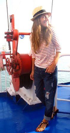 Red Breton stripes and boyfriend jeans with a straw fedora