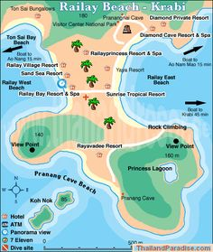 railay beach map krabi. Link explains how to get around, things to do, and hotels, etc.