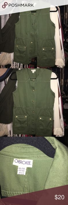 LOWEST Army Green Vest Brand new without tags. This is an xL in a little girls size. Fits a size XS-S. Oversized. Similar to the one Kristin Cavallari wore. Cherokee Jackets & Coats Vests