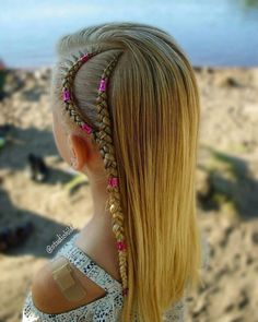 Side cornrows with hair cuffs By Little Girl Hairstyles, Summer Hairstyles, Trendy Hairstyles, Hairstyles 2016, Black Hairstyles, Braided Ponytail Hairstyles, Box Braids Hairstyles, Hair Updo, Braid Styles