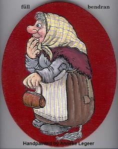""""""" Trollmor füll bendran  """"  , handpainted by Anneke Legeer , the Netherlands , inspired by Rolf Lidberg.    Weert  2006."""