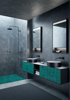 Terracotta – eine Tradition modern interpretiert  Das Fliesen-Mosaik auf der Badmöbelfront wird in der talsee Manufaktur für den Kunden von Hand gestaltet. Modern interpretiert verleihen sie eine neue Dimension. Und schaffen in ganz persönlichen Momenten beruhigende Stille. Die unterschiedlichen Naturlasuren der Materialien sind dabei stilvoll aufeinander abgestimmt.  Die Terracotta-Fliesen gibt es nicht nur im meerfarbenen Türkis, sondern auch in edlem Gold. Bathroom Lighting, Bathtub, Modern, Mirror, Design, Furniture, Home Decor, Mosaic, Tile