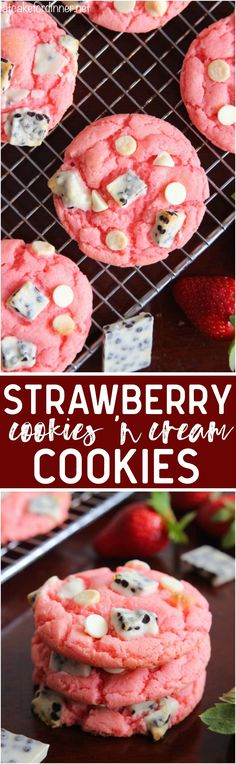 Easy and delicious cookies that are made with a cake mix and pudding mix with delicious cookies and cream pieces hidden inside! They are a fun pink color with a crisp edge and chewy center!