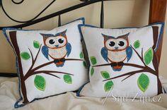 Aplication patchwork pillow with owl | Šiju-Žiju.cz