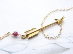 Gold Arrow necklace personalized birthstone jewelry by soradesigns