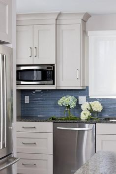 blue glass kitchen backsplash tiles, transitional, kitchen