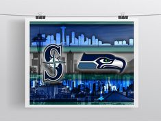 Seattle Sports Teams Poster, Seattle Washington Sports Team Art, Seattle Seahawks, Seattle Mariners
