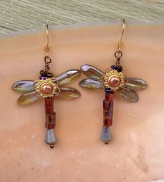 Dragonfly in Amber Earrings by Antonette Cely by oddsbodkinsonline