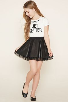 Forever 21 Girls - This faux leather skirt features an elasticized waist and a tulle lining underneath its hem. Preteen Girls Fashion, Young Girl Fashion, Summer Fashion For Teens, Kids Outfits Girls, Girls Fashion Clothes, Fashion Outfits, Cute Girl Dresses, Cute Girl Outfits, Cute Outfits For Kids