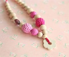 Summer flower Pink necklace for girls Children's by nihamaj, $13.00