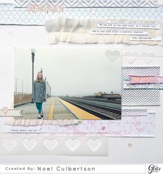 Sewing layers on a scrapbook layout - Be Kind layout by Noel Culberston for Gliz Designs