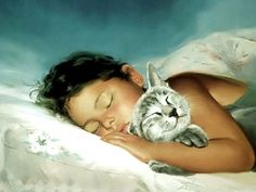 I Love Donald Zolan's paintings- Little girl sleeping with her cat