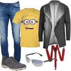 Un papà molto giovane che veste trendy con jeans skinny, felpa antracite e t-shirt dei Minions. Il look si completa con sneakers Geox, occhiali da sole e splendide bretelle rosse, identiche a quelle del figlio, che saranno uno splendido regalo che il piccolino gli farà per la festa del papà.