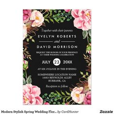Modern Stylish Spring Wedding Floral Wreath Card ================= ABOUT THIS DESIGN ================= Modern Stylish Romantic Floral Wreath Wedding Invitation Suite. (1) All text style, colors, sizes can be modified to fit your needs. (2) If you need any customization or matching items, please feel free to contact me. (In case you didn't get my response, please check the email SPAM folder) (3) You can find matching products (e.g. Invites, RSVP card, Reception Card, Thank You Card, Party…