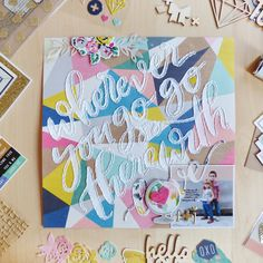 Go There with Love - Scrapbook.com - Hand stitch your title.