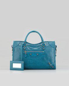 Balenciaga - Giant 12 Rose Golden City Bag, Blue
