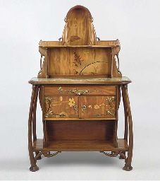 CARVED MAHOGANY AND MARQUETRY SIDEBOARD  BY LEON BENOUVILLE, C.1895