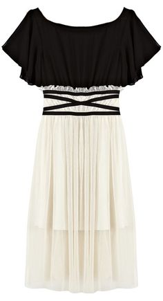 Black White Short Sleeve Bandeau Pleated Dress - Sheinside.com