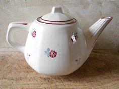 French antique teapot porcelain teapot from by Birdycoconut