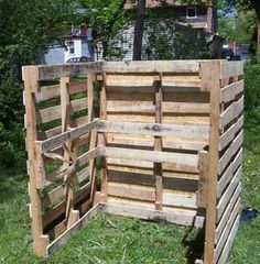 pallet compost bin--Too unable now--But I always wanted a compost pile-This is perfect! Inexpensive and a woman can build!