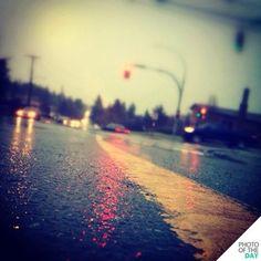 street, rain, lights