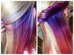 Gorgeous! Just a pop of color cleverly layered under blonde for more the conservative.