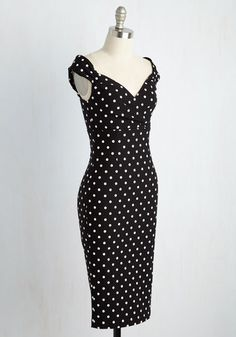 Lady Love Song Dress in Black Dots | Mod Retro Vintage Dresses | ModCloth.com