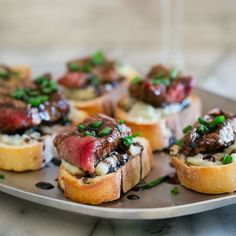 For a boost of energy, amp up your iron intake with these Blue Cheese Steak Crostinis! - KS