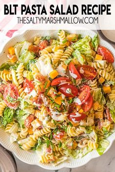 BLT PBLT Pasta Salad is full of crisp bacon, sweet cherry tomatoes, romaine, and cheddar cheese with curly noodles and an easy homemade dressing! Perfect as a side dish or a full meal!asta Salad is full of crisp bacon, sweet cherry tomatoes, romaine, and cheddar cheese with curly noodles and an easy homemade dressing! Perfect as a side dish or a full meal for spring and summer! Blt Pasta Salads, Pasta Salad Recipes, Cooking Chicken To Shred, How To Cook Chicken, Food Dishes, Side Dishes, Pasta Dishes, Food Food, Classic Macaroni Salad