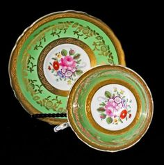 PARAGON VINTAGE GREEN GOLD ENCRUSTED FLORAL CHINA TEACUP TEA CUP & SAUCER   Pottery & Glass, Pottery & China, China & Dinnerware   eBay!