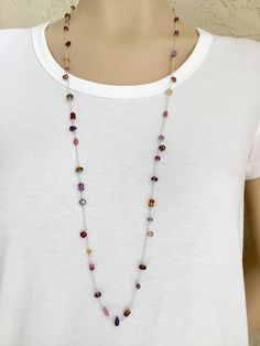 Multi Stone Long Necklace Sterling Silver Long Necklace Long
