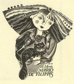 Ex Libris de Mario de Filippis - via Women and Cats will do as they please...